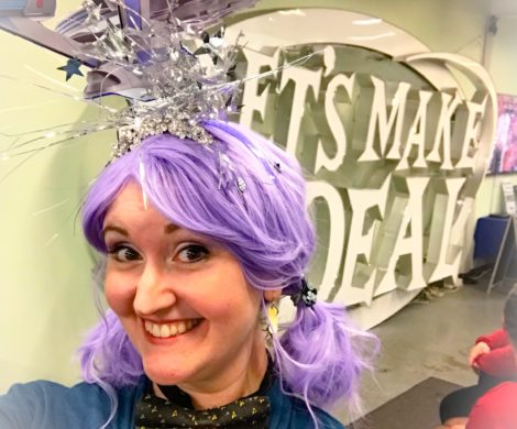 Laci Morgan in a purple wig at Let's Make a Deal