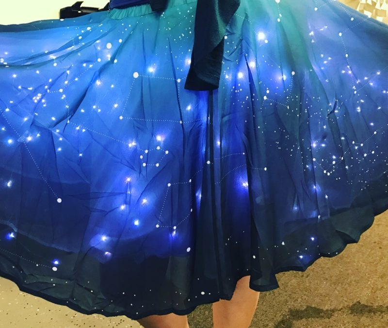 blue light up star skirt from Thinkgeek