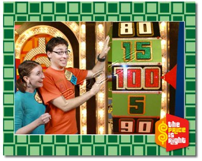 Man and woman Spinning the Showcase Showdown wheel at the Price is Right