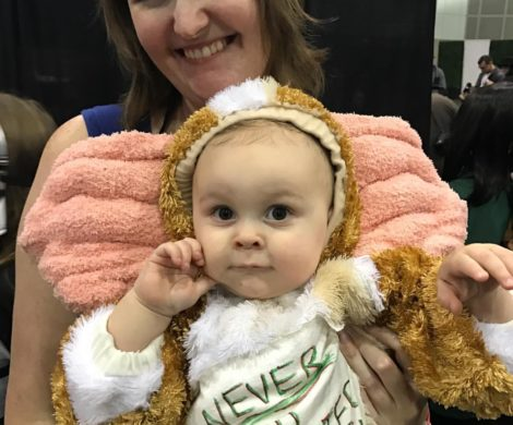 A baby in a Gizmo Mogwai Gremlins costume