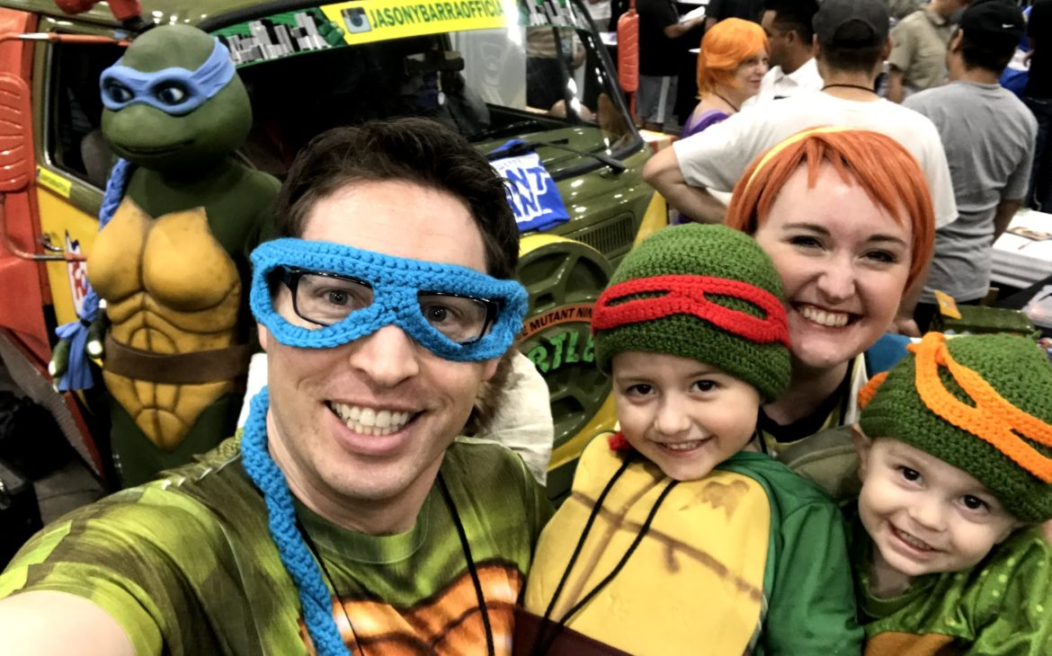 The Morgan family dressed in cosplay as Teenage Mutant Ninja Turtles
