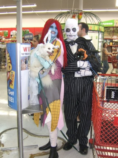 The Morgans dressed in costume as Jack and Sally from the Nightmare Before Christmas