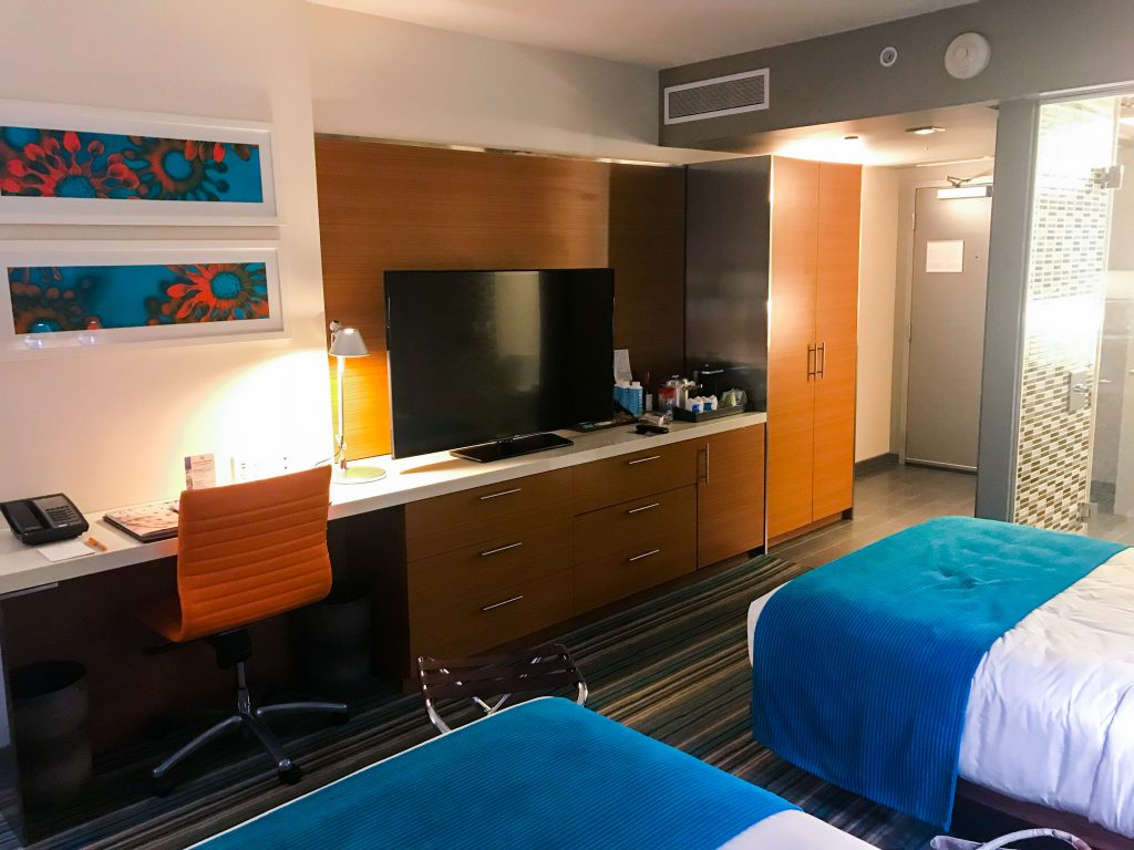 view of a standard double bed hotel room at the Shore Hotel Santa Monica