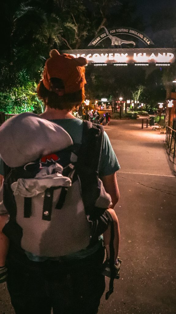 A mom carrying her toddler on her back at Disney's Animal Kingdom, in a Lillebaby CarryOn All Seasons baby carrier
