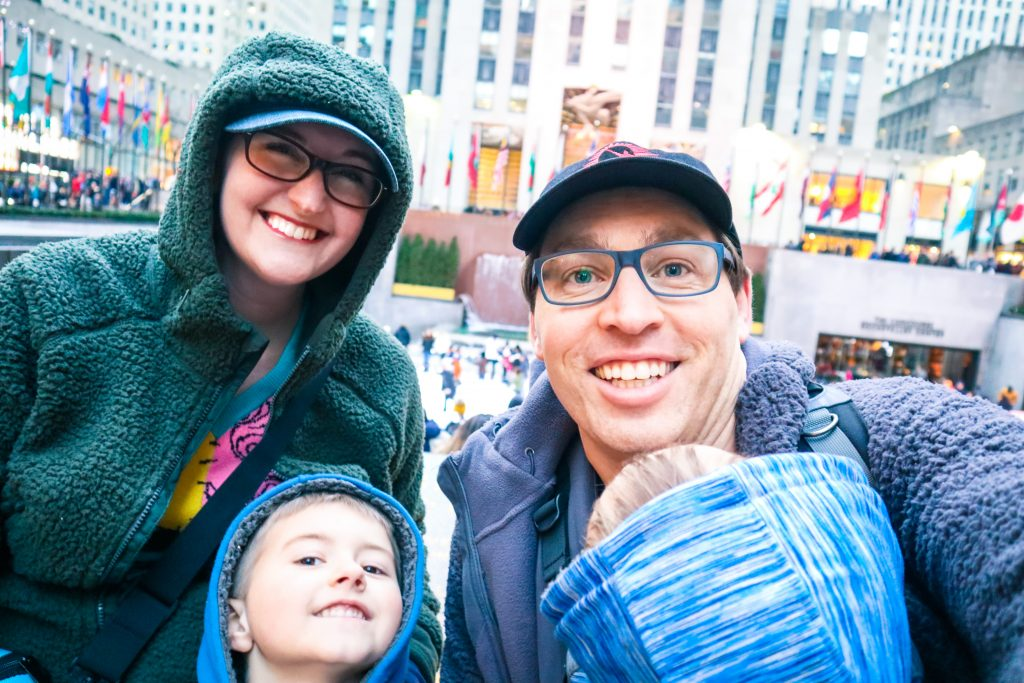 The Morgan Family in front of the Rockefeller Center ice rink in New York City