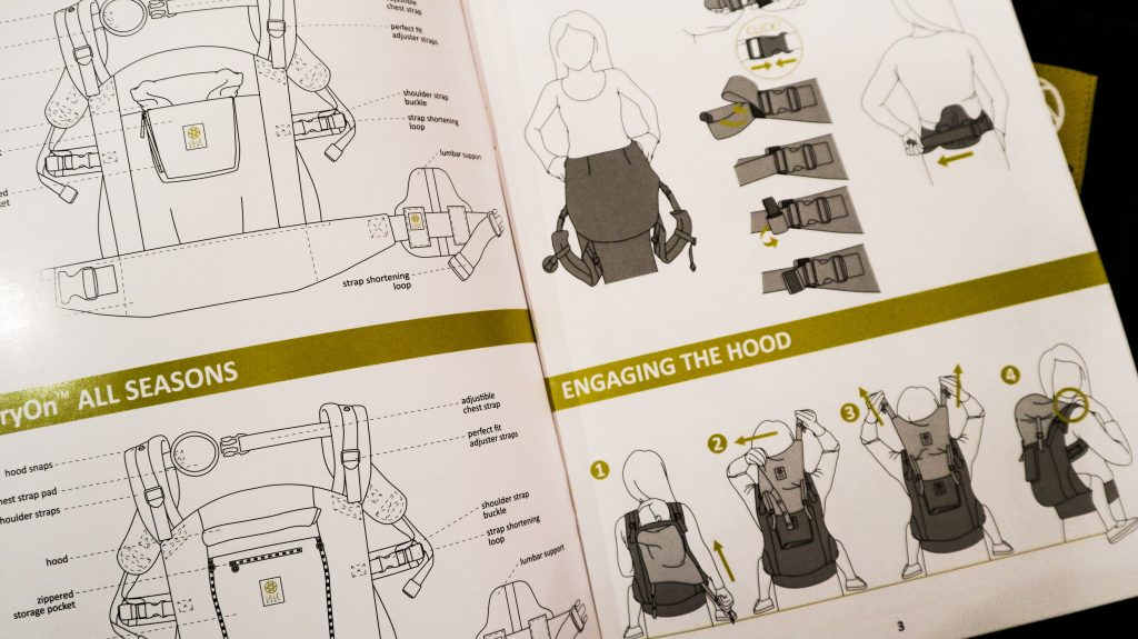 Instructions for putting on a Lillebaby baby carrier