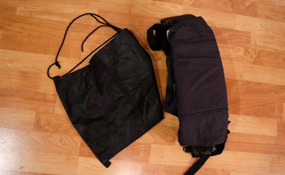 A Lillebaby baby carrier rolled up and folded size