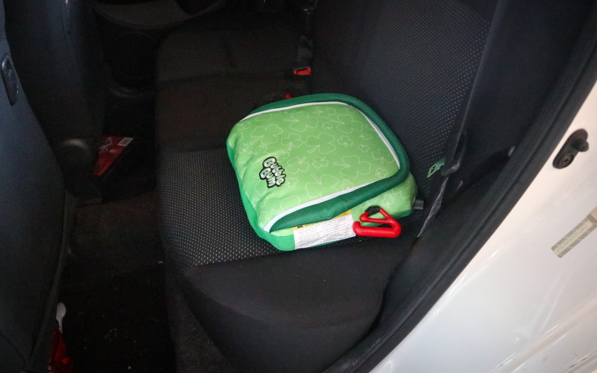 Bubblebum travel car seat inside a car