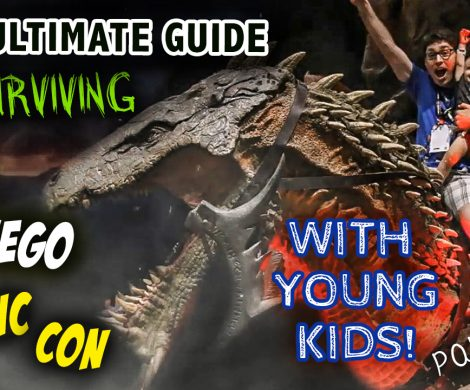 A dad and kid riding a dragon at San Diego Comic Con, with the caption, The Ultimate Guide to Surviving SDCC with Young Kids
