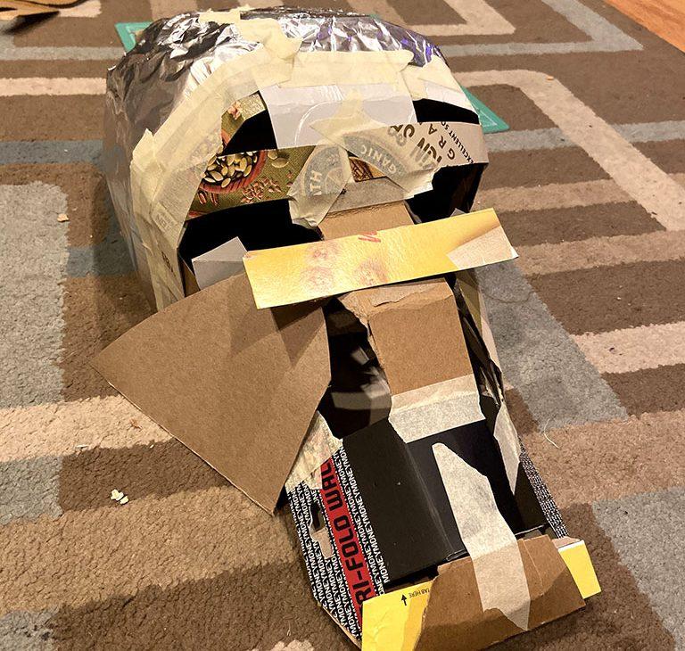 A cardboard build of a Dark Crystal Mystic mask