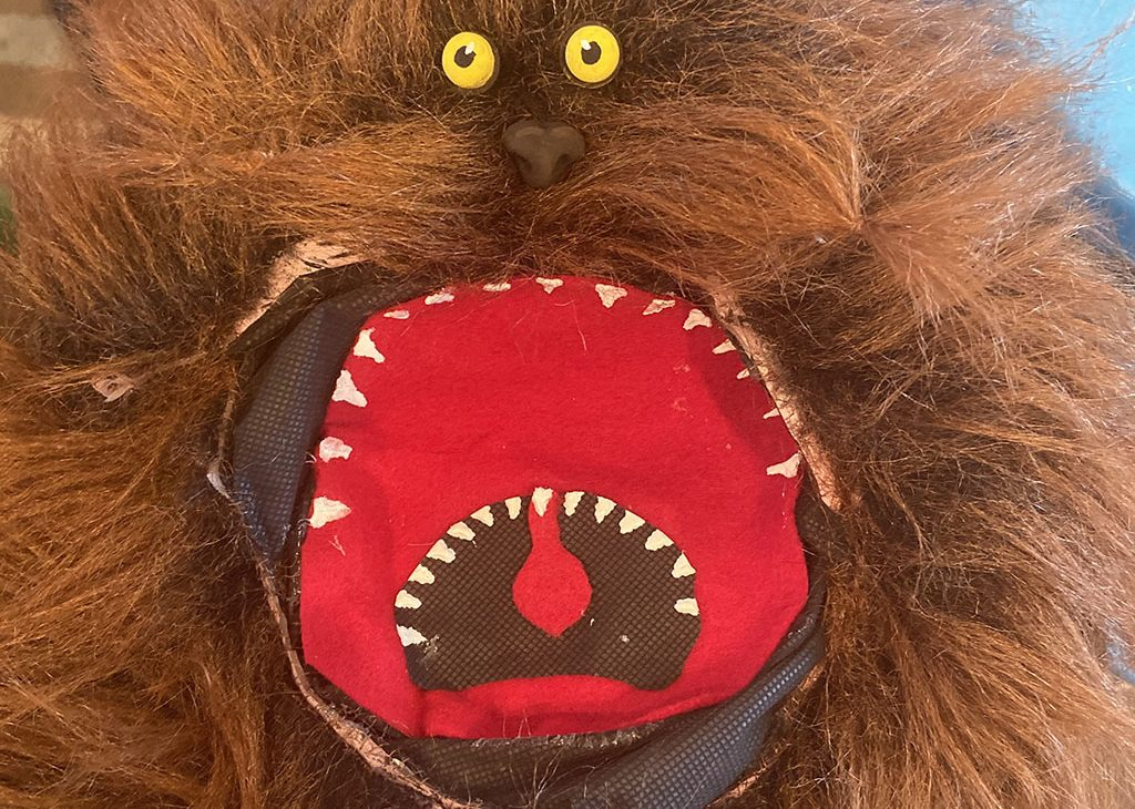 A homemade Fizzgig puppet from the Dark Crystal